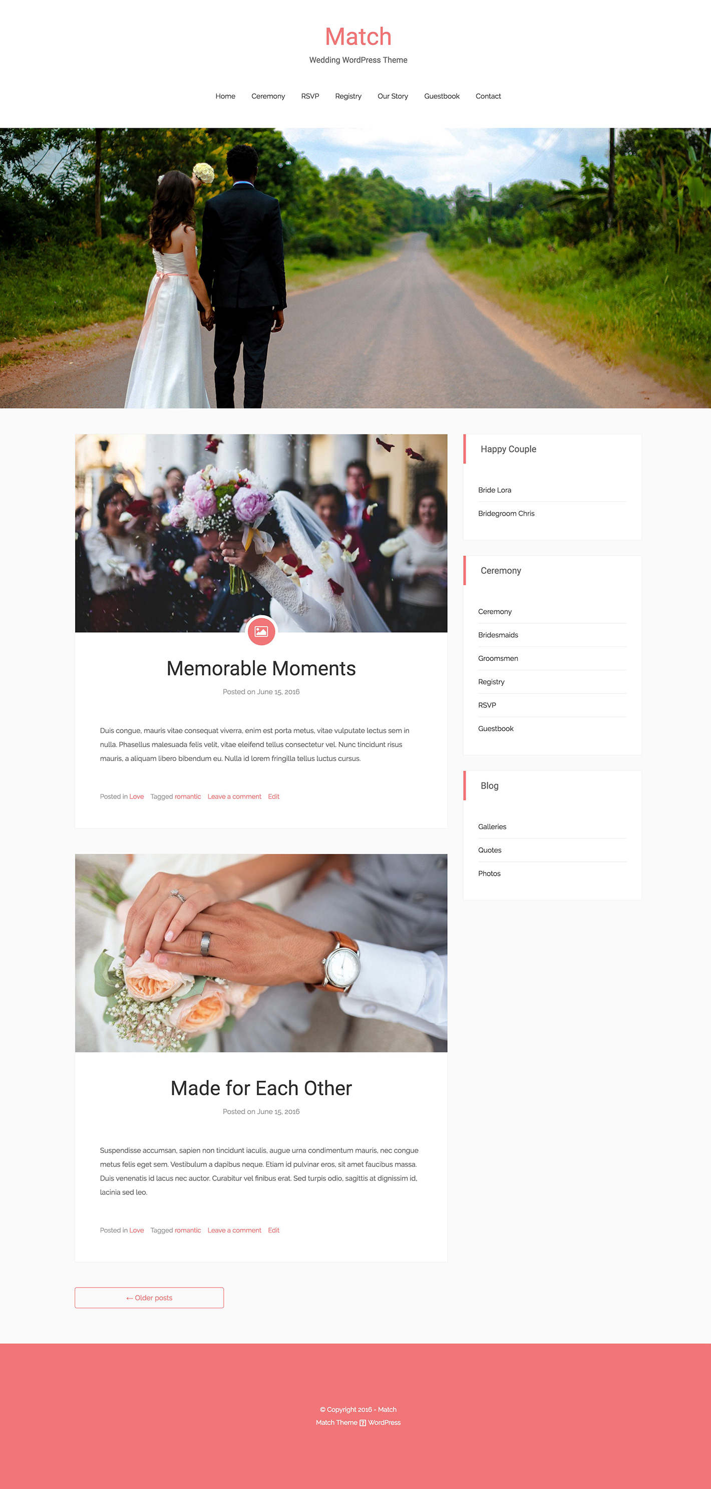Match Lite - Free Wedding WordPress Theme on DoveThemes