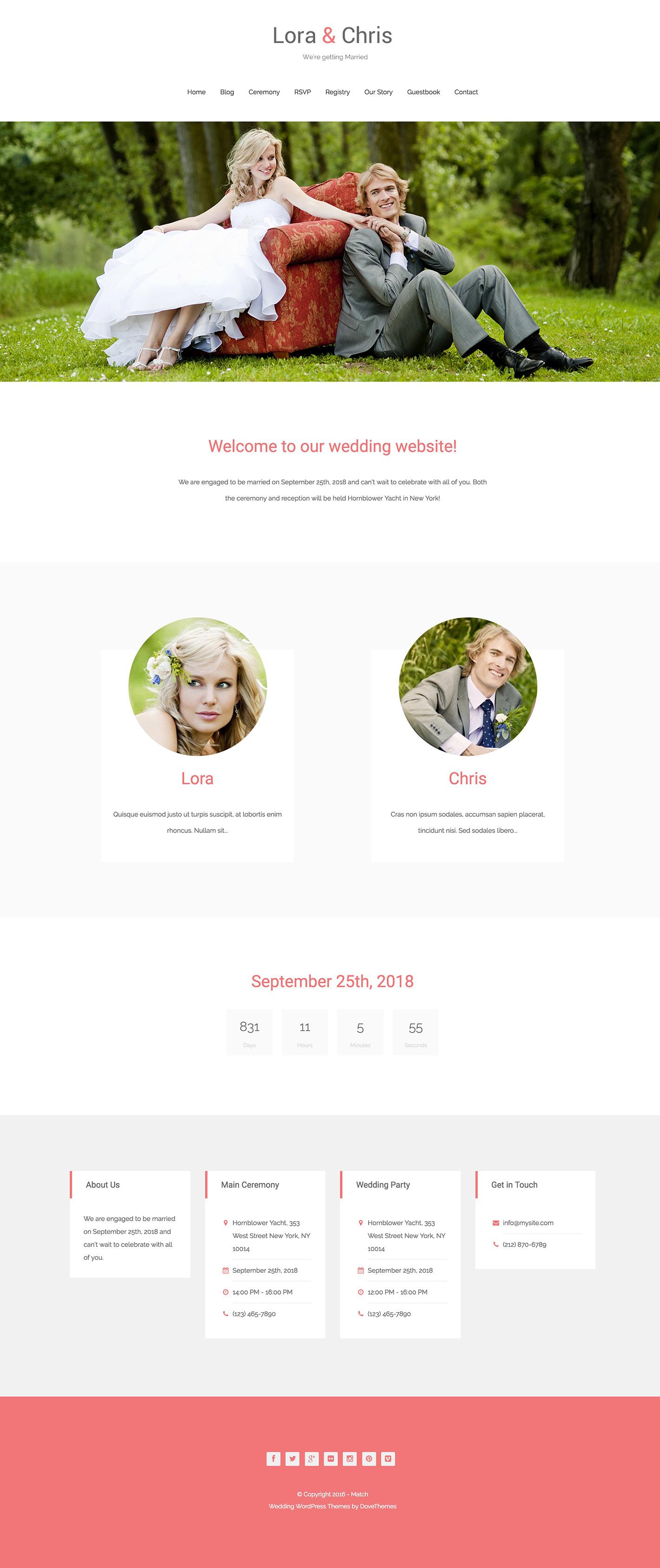 Match Wedding Wordpress Theme On Dovethemes