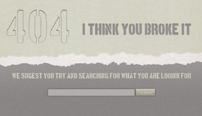 404 Error Page Free Psd Web Element