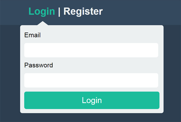 DropDown Login Form