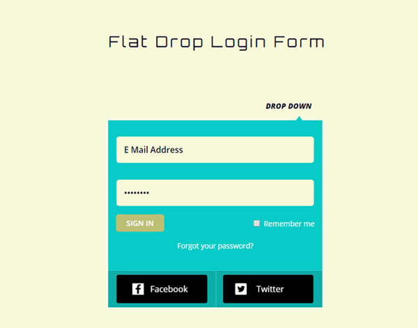 flat-drop-down-login-form