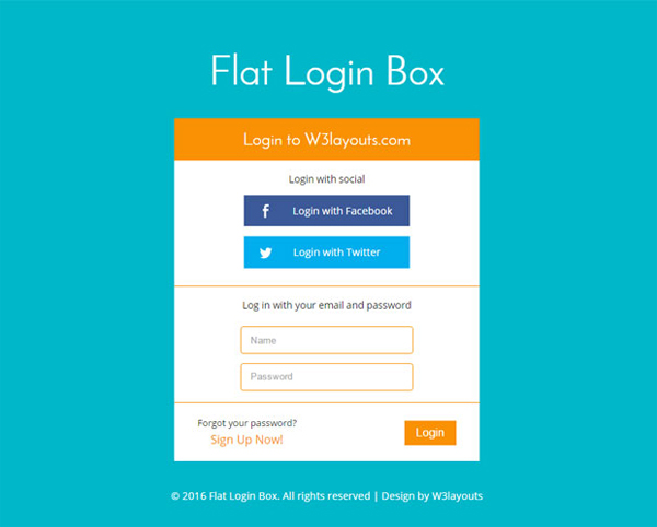 flat-login-box-form-responsive-template