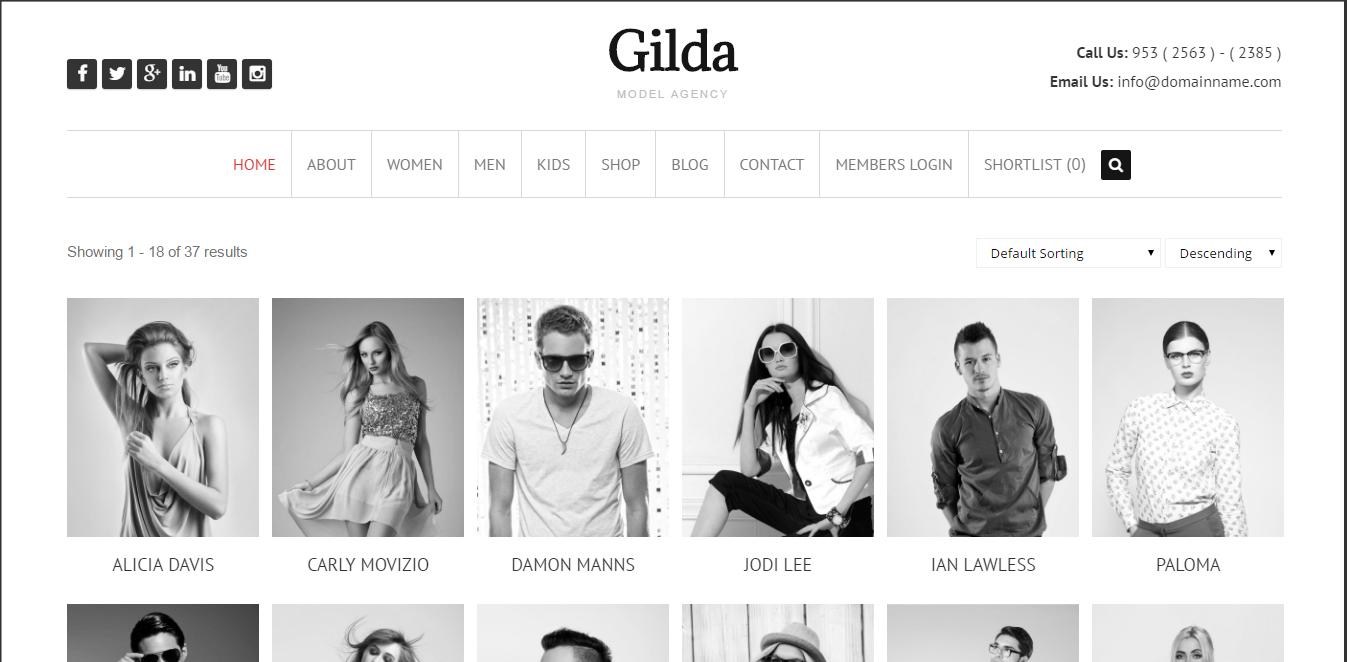 Gilda - Model and Actros WordPress Theme