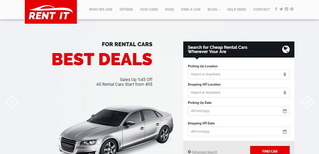 Rentit - Car Rental WordPress Theme