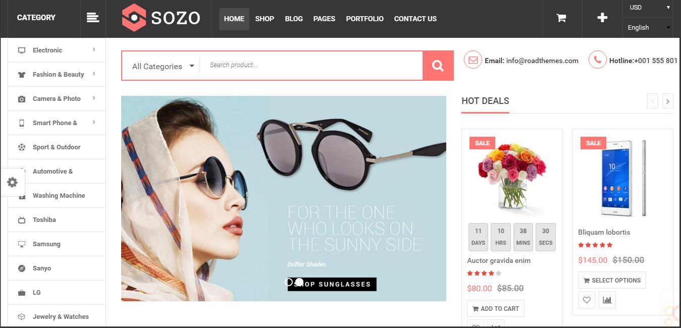 SOZO - Full Screen Mega Shop WordPress Theme