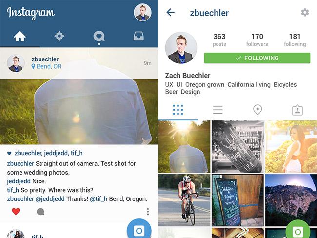 Instagram App UI Design PSD