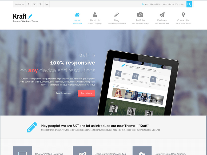 Kraft Lite Is A Wonderful Multipurpose Fully Responsive Single Page Free ECommerce WordPress Themes Which Can Show Any Item Application And Be Utilized
