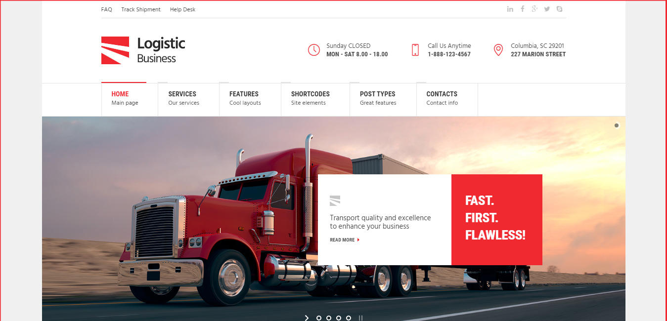 Logistic Business - Transport WordPress Theme
