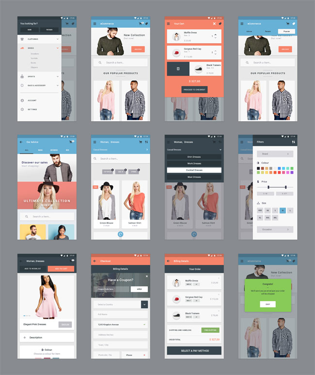 Material Design eCommerce App UI Kit PSD