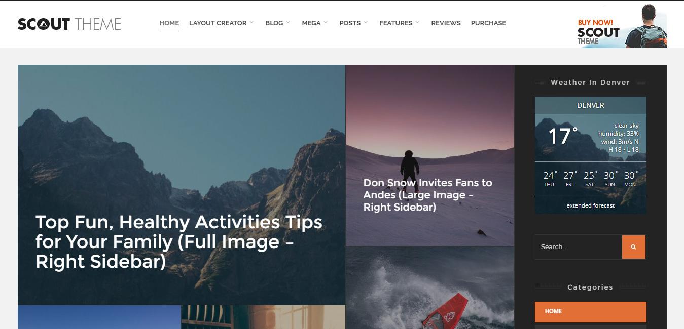 Scout - Adventure Blog WordPress Theme