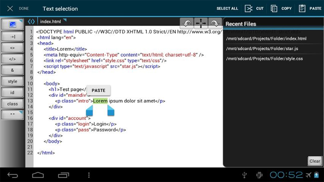 WebMaster's HTML Editor - android code editors
