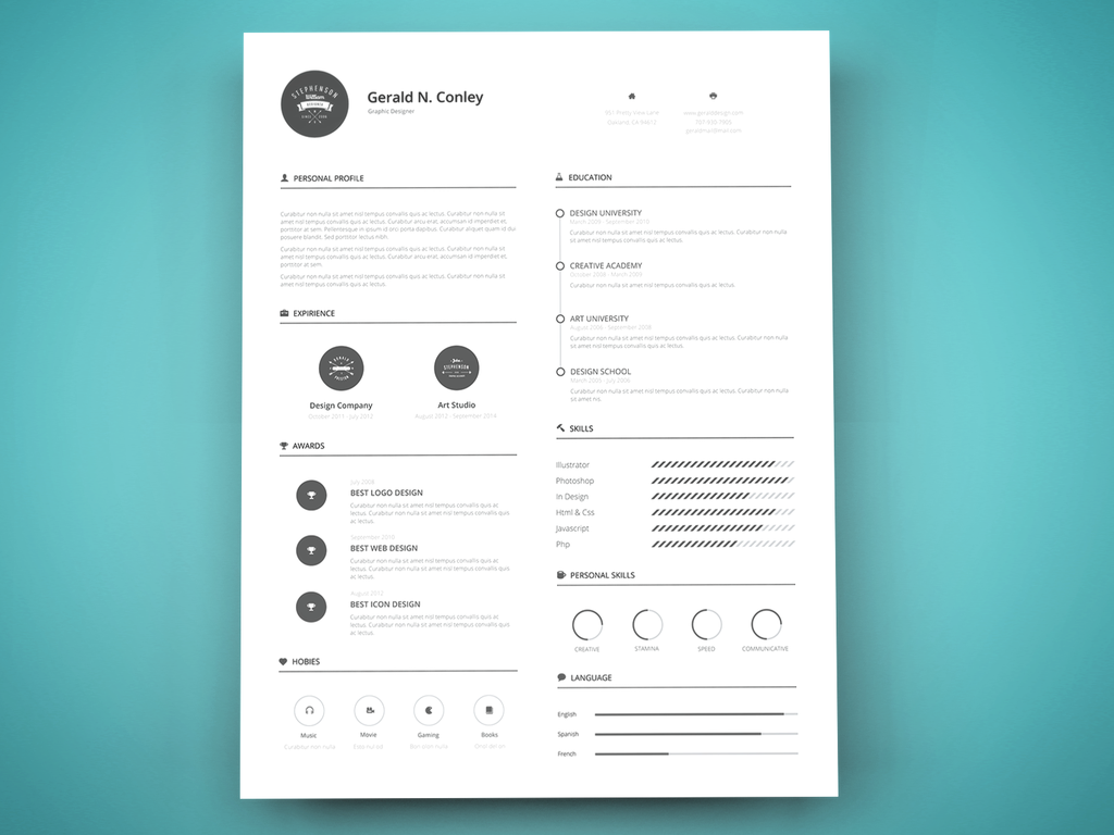 Beautiful Free Resume Templates   Dovethemes