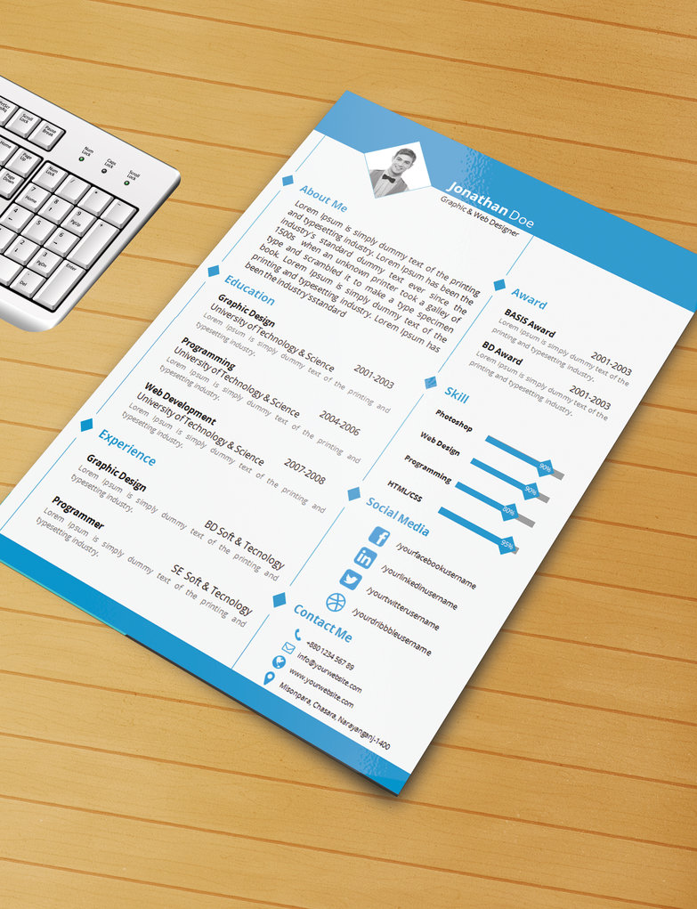 Sample Resume Word Format Download | 25 Beautiful Free Resume Templates 2018 Dovethemes